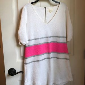 Anthropology white and pink mini dress
